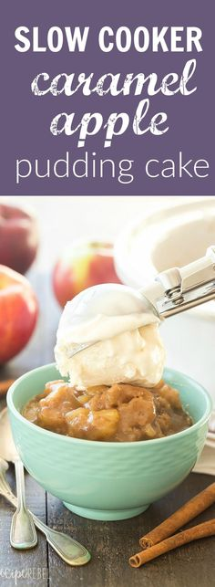 This Slow Cooker Caramel Apple Pudding Cake is SO simple, loaded with apples and makes its own hot caramel sauce as it cooks. Our new favorite dessert! | crockpot | crock pot | dessert recipe | fall recipe | #ad