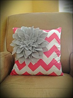 Hot Pink Chevron Pillow COVER With Grey Felt by TheEvergreenHeart, $25.00