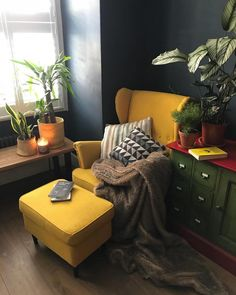 This one wasn't easy, because that's not where the armchair normally stands. Living Room On A Budget, Living Room Modern, My Living Room, Home And Living, Living Room Decor, Living Room Corners, Armchair Living Room, Ikea Armchair, Interior Exterior