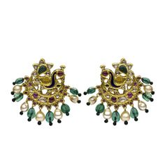 A pair of diamond ,emerald,yellow sapphire and ruby earrings in the form of a peacock set with columbian emerald and basra pearl drops.Lucknow 19th Century