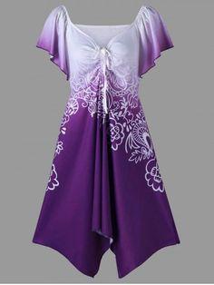 Short Sleeve Plus Size Flower Tunic T-Shirt