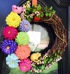 Spring Pinecone Zinnias Wreath. A 14 grapevine wreath will be used with 8 Bright Colorful Pinecone Zinnias. Along with 2 Colorful Birds. Each Pinecone is descaled and hand cut, painted and then glued upside down to look like a Zinnia, spring greenery will be added also to the
