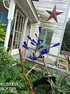 Cobalt Blue Bottle Tree #RustedRoutes