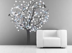 Vinyl Wall Decal stickers living room bed baby kid kids room-romantic snow Cherry flower tree with bird Nursery Art Decals Wall Sticker