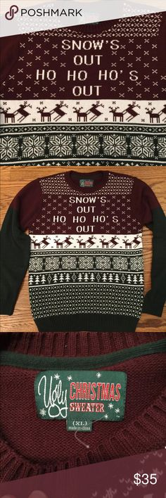 Ugly Christmas Sweater XL Win that Tacky Christmas sweater party in this Humping Reindeer sweater Ho ho ho Sweaters Crewneck