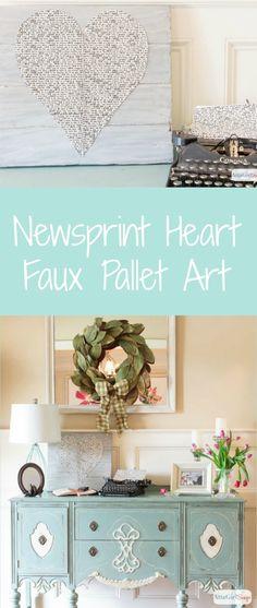 Beautiful Newsprint Heart Faux Pallet Art