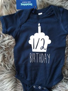 Half Birthday Boy Onesie® 6 month Birthday Onesie® by TheJudeBug