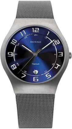 Bering Mens Blue Sunray Dial Mesh Band Titanium Classic Watch 11937-078