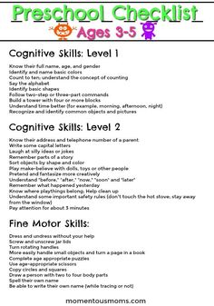 A preschool checklist to know what your year old should know regarding cognitive skills.Is your Preschooler on Track - Year Old Milestones - MOMentous MotherhoodEver wonder what your kids should know between 3 and 4 years old? Here is a good start fo Preschool Checklist, Preschool Assessment, Kindergarten Readiness, Preschool Lesson Plans, Preschool At Home, Preschool Kindergarten, Montessori Preschool, Kindergarten Ready Checklist, Toddler Preschool