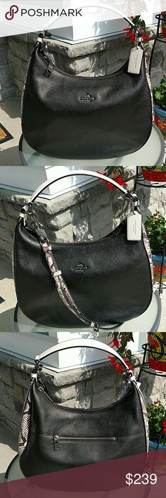 "NWT!  Coach 'Harley' Snake Print Leather Hobo Ssssssensational!  Exterior features black pebbled leather w/snake print embossed trim, one outside zip pocket.  Top zip closure.  Interior features black fabric lining w/zip pocket one side; two slip pockets on opposite side.  Adjustable, detachable shoulder/crossbody strap approx. 22-1/2""L.  Handle drop:. approx. 10""L. Coach Bags Hobos"