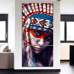 Native American Indian Feathered Girl Wall Art Modern Indian Girl Canvas Painting for Hallway Living Room Bedroom Home Decor - Oliver Psiuk - Living Room American Indian Girl, Native American Girls, Canvas Pictures, Print Pictures, Clary Y Jace, Indian Wall Art, Canvas Wall Decor, Bedroom Canvas, Graffiti Wall Art