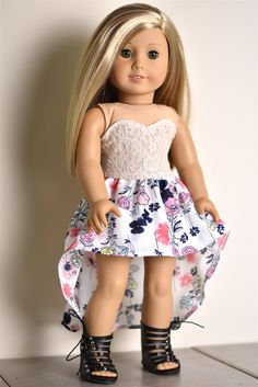 18 inch doll clothes High Low Skirt High Low Skirt American girl doll by EliteDollWorld on Etsy Ropa American Girl, American Girl Crafts, American Doll Clothes, American Girl Dolls, My Life Doll Clothes, Barbie Clothes, American Girl Accessories, Divas, America Girl