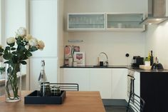 Small black and white kitchen