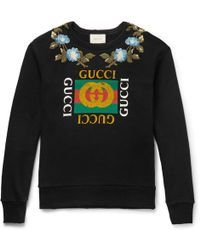 a868b6af Gucci - Embellished Printed Loopback Cotton-jersey Sweatshirt - Lyst Mens  Activewear, Man Shop
