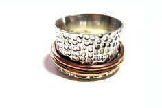 Silberring, Drehring 925er Silber und Gold Gr.16,5 von HANDMADE auf DaWanda.com