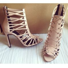 Cut-out Caged Heels Tan -Sandals Shoes Booties
