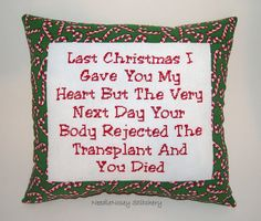 sierrascott_xx's save of Funny Cross Stitch Christmas Pillow, Red And Green Pillow, Christmas Quote on Wanelo