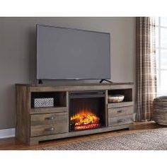 Signature Design by Ashley Trinell Rustic Large TV Stand 2 Tall