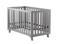 Check out this modern crib – we love the grey color. Land of Nod Grey Low-Rise Crib.