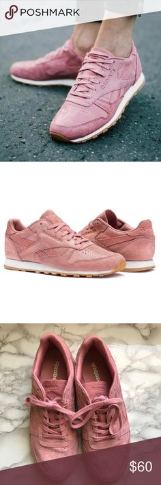 0dcf5b90537 Reebok Classic Pink Leather Clean Exotics Sneakers  size 9.5  pre-owned.  Great