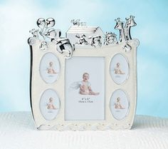 "This adorable collage frame holds four 2"" x 3"" photos and one 4"" x 6"" photo of baby. The entire piece measures 10"" x 10"". A combination of silver-plating and cream-colored epoxy are used to depict Noah's Ark carrying an assortment of animals -- mouse, two sheep, two elephants, rabbit, rooster, pig, lion and two giraffes. #timelesstreasure"