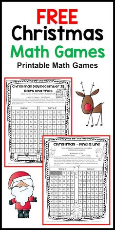 No Prep Math Freebies from Games 4 Learning - 2 printable math games #christmasmath #mathgames #math #mathfreebies