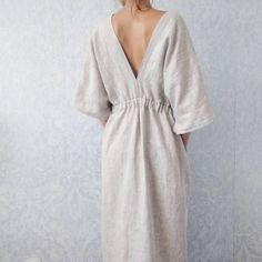 Evangeline handmade kimono style dress - comfortable oversized style dress in linen, with pockets and handmade linen belt! Mode Kimono, Kimono Style Dress, Kimono Fashion, Diy Fashion, Fashion Design, Style Fashion, Fashion Ideas, Winter Fashion, Fashion Tips
