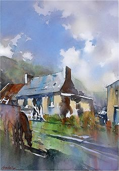 Farm Cottage - Norther Ireland by Thomas W. Schaller Watercolor ~ 22 inches x 15 inches