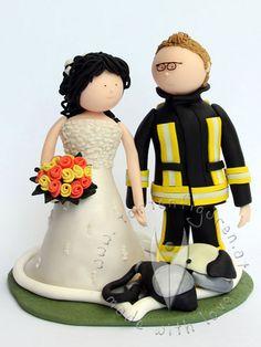 Feuerwehr Brautpaar von www.tortenfiguren.at - Firebrigade Weddingcaketopper