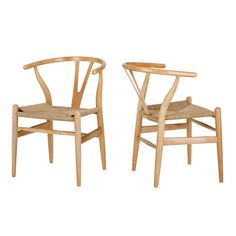 Natural Hans Wegner Replica Wishbone Chair (Set of 2) by Milan Direct. Get it now or find more Dining Chairs at Temple & Webster.