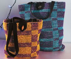 woven-handbag - from interweave.com/Weaving/ - free ebook for weaving bags that includes these rag totes.  I think this uses 12 dent heddle.