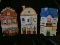 Decorative Canister Lot Of 3 Storage Set Ceramic Bakery Tea & Antiques Shop Great for the kitchen