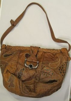 1980s Brown Leather Patchwork Hobo Bag by GoodBuyForNow on Etsy