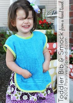 Toddler Bib & Smock made with a hand towel - FREE pattern! This would be good for craft time with finger paints and such