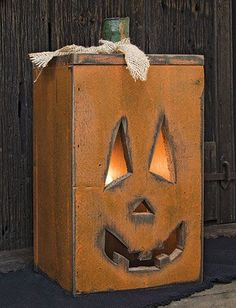 Our lighted Jacko Pumpkin is a great country accent for Halloween. Handcrafted in the USA!