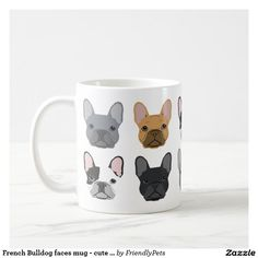 French Bulldog faces mug - cute frenchie mug. Regalos, Gifts. Producto disponible en tienda Zazzle. Tazón, desayuno, té, café. Product available in Zazzle store. Bowl, breakfast, tea, coffee. Link to product: http://www.zazzle.com/french_bulldog_faces_mug_cute_frenchie_mug-168767462359781120?CMPN=shareicon&lang=en&social=true&rf=238167879144476949 #taza #mug #bulldog