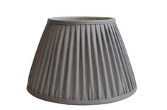 Powder grey linen gathered pleat on a Straight empire lampshade