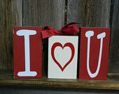 Valentine's Wood Blocks-  I heart you