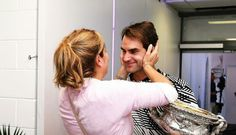Roger & Mirka - when they saw each other for the first time after winning the Australian Open 2017