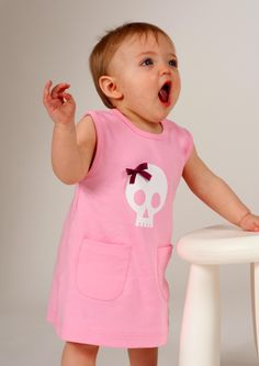 Skull & Bow Girls Dress, Soft Pink Cotton With Awesome Skull Print & Cute Bow Feature - Worldwide Delivery