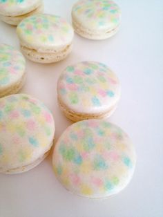 Confetti Macarons – hand-painted. Delicate hints of pastel colors.
