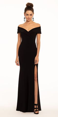 You're bound to score a black-tie invite with this long evening dress on deck: from the off the shoulder neckline and fitted bodice to the column skirt, this closet staple is perfect for anyone with formal evening dress plans on their weekend agenda. Accessorize without overpowering by adding on a pair of high heel shimmer rhinestone sandals, drop earrings and a glitter ribbed flap clutch. Formal Evening Dresses, Prom Dresses, Wedding Guest Style, Side Slit Dress, Mermaid Skirt, Fitted Bodice, Black Tie, Off The Shoulder, Rhinestone Sandals