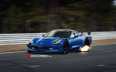 2014 #Corvette C7R spitting flames