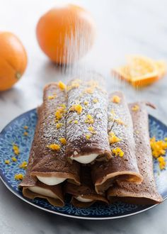 Delicious chocolate crepes filled with a soft, fresh orange cream cheese whipped cream. Perfect for breakfast or dessert! From Erica Kastner of Buttered Side Up. Crepes Filling, Cream Cheese Filling, Chocolate Crepes, Delicious Chocolate, Chocolate Orange, Nutella Crepes, Crepes Party, Crepes And Waffles, Pancakes