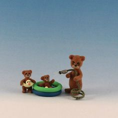 Miniature Brown Bear_Kiddie Pool_Garden Hose_Dollhouse Baby Toy_Clay_Artist Doll