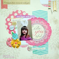 Layout made with the #epiphanycrafts Shape Studio Tool Round 25 available at #MichaelsStores www.epiphanycrafts.com #scrapbook #ellesstudio