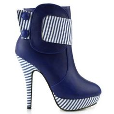 Show Story Blue Striped Button Zipper High Heel #Stiletto Platform Ankle Boots,FZ30303BU41,10US,Blue List Price: $79.99 Sale Price: $29.99