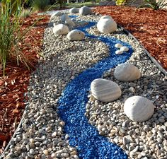 colorful river rock garden