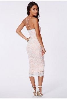 Zoraide Lace Strappy Midi Nude - Lace Dresses - Dresses