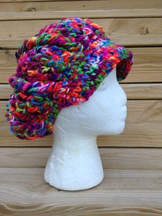 Newsboy Cap All Colors Crochet Beanie Dread Hat Hippy Boho Style Hat Vegan Gift Rainbow Pride on Etsy, $28.00